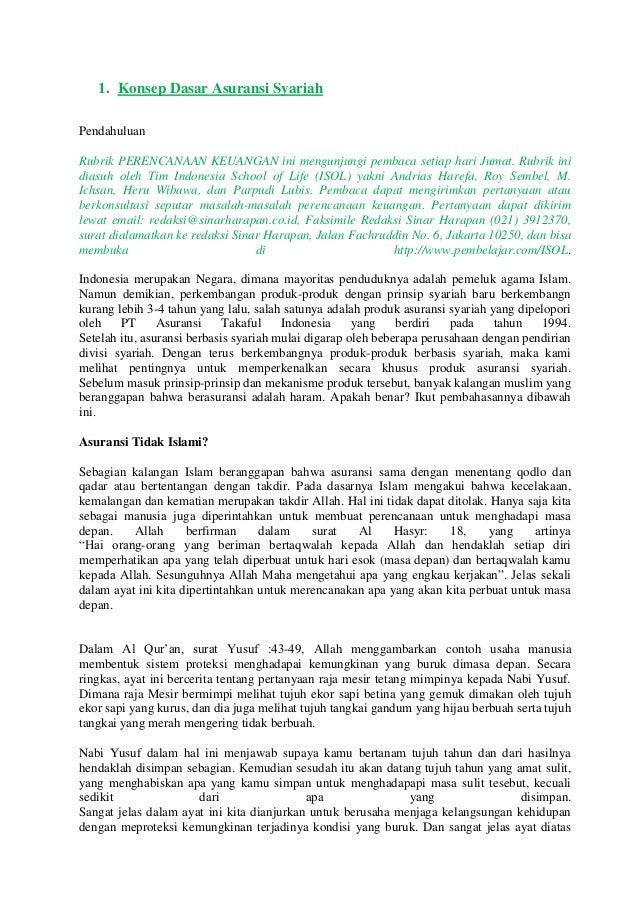 1. Konsep Dasar Asuransi SyariahPendahuluanRubrik PERENCANAAN KEUANGAN ini mengunjungi pembaca setiap hari Jumat. Rubrik i...