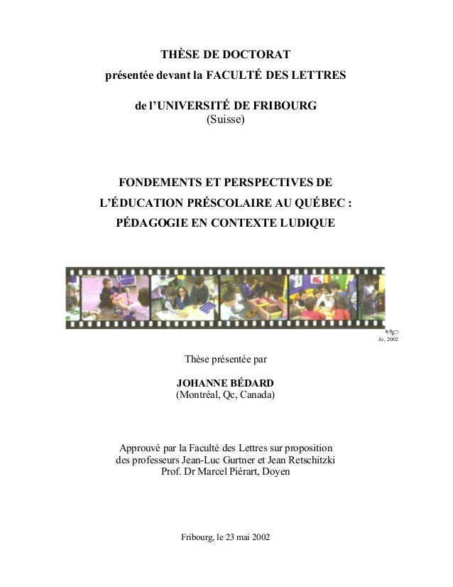 THÈSE DE DOCTORAT présentée devant la FACULTÉ DES LETTRES de l'UNIVERSITÉ DE FRIBOURG (Suisse)  FONDEMENTS ET PERSPECTIVES...