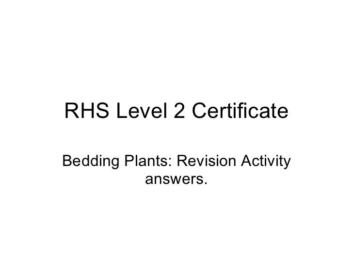RHS Level 2 Bedding Plant activity answers