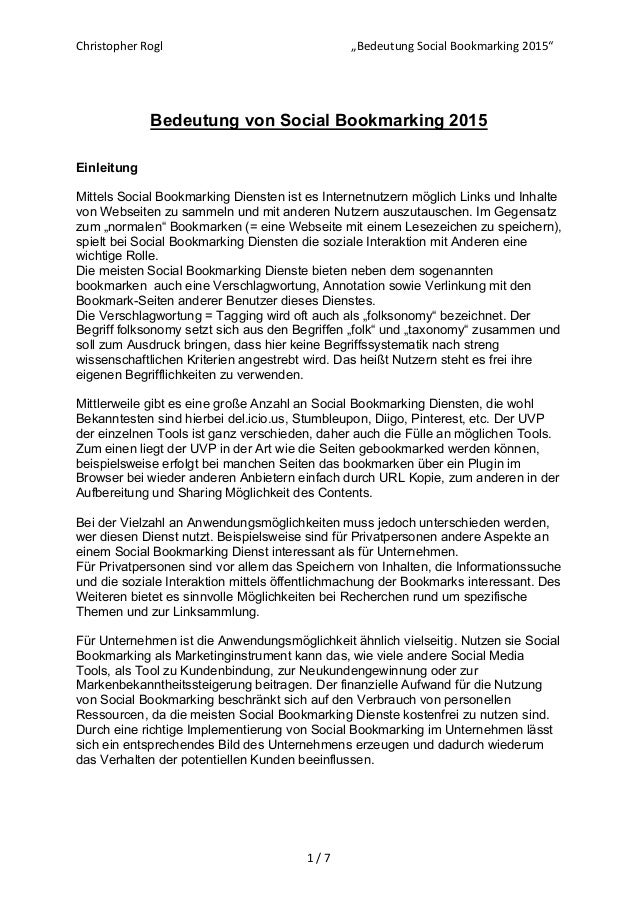 "Christopher Rogl    ""Bedeutung Social Bookmarking 2015""  1 / 7      Bedeutung von Social Bookmarking 2015 ..."