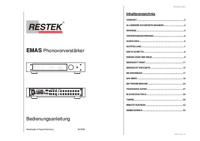 EMAS Phonovorverstärker  IN 1 48.5  RESTEK  RESLINK RESTEK EMAS  EMAS  GND IN 8 IN 7 IN 6 IN 5 IN 4 IN 3 IN 2 IN 1  RESLIN...