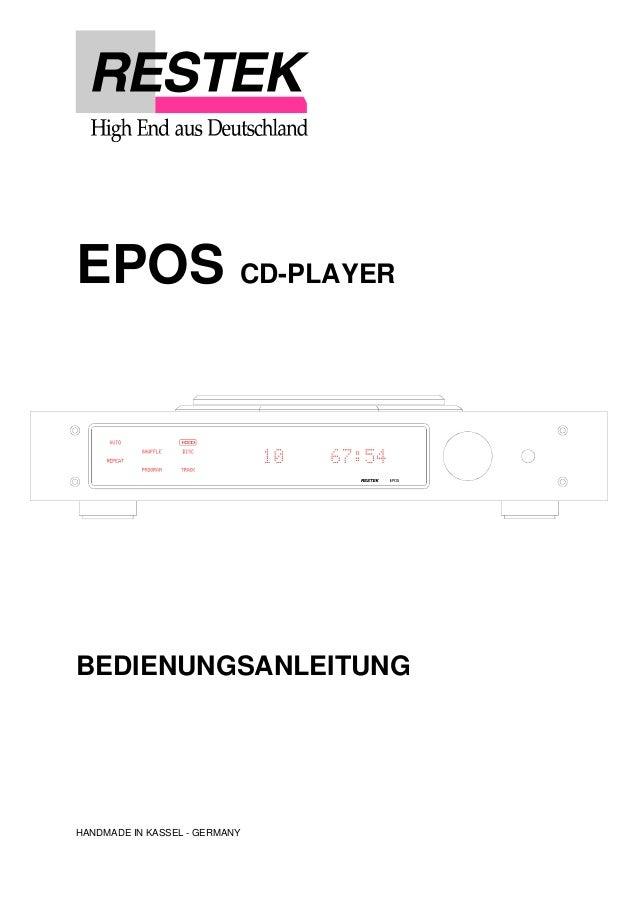 EPOS CD-PLAYER  BEDIENUNGSANLEITUNG  HANDMADE IN KASSEL - GERMANY