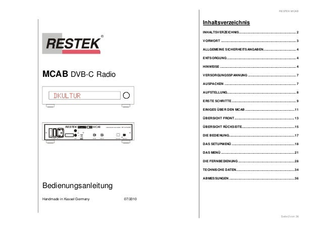 MCAB DVB-C Radio  DKULTUR  I  0  RESTEK MCAB  HANDMADE IN GERMANY DE 63702507  RFIN DIGITAL  L  POWER MT 1A OUT  RFOUT  R ...