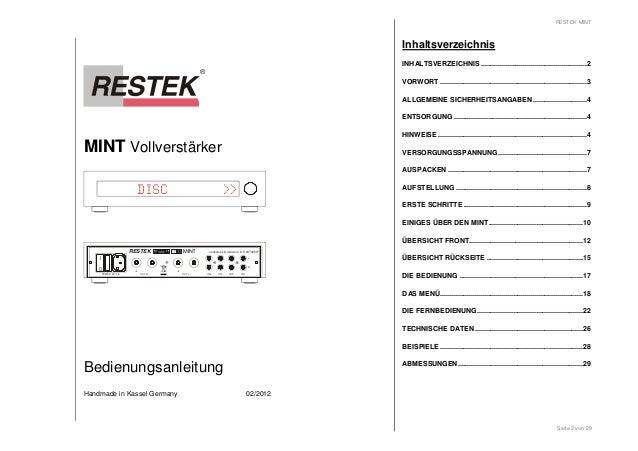 MINT Vollverstärker  DISC >>  I  0  RESTEK MINT  + - + -  OUT R  POWER MT 2A  HANDMADE IN GERMANY DE 63702507  IN 4 IN 3 I...