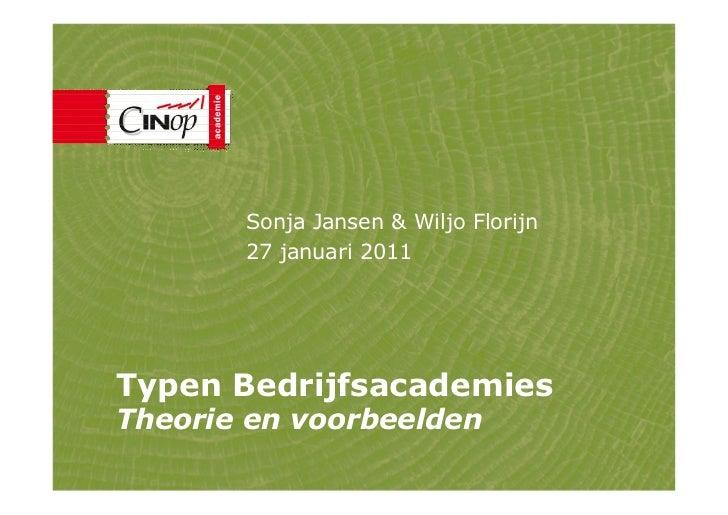 Sonja Jansen & Wiljo Florijn       27 januari 2011Typen BedrijfsacademiesTheorie en voorbeelden