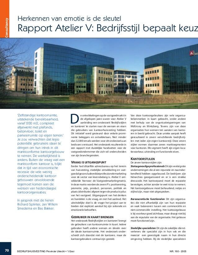 e ontwikkelingen op de vastgoedmarkt in de afgelopen jaren waren voor Atelier V aanleiding een onderzoek 'Bedrijfsstijlen ...