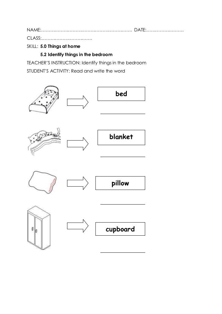 Bedroom worksheet