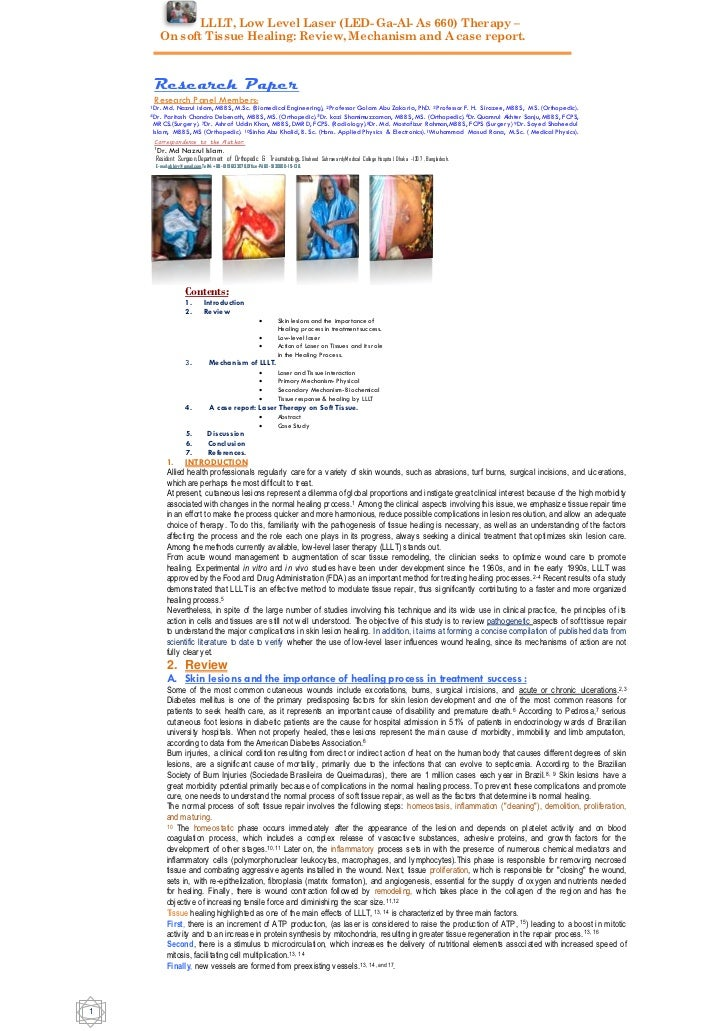 LLLT, Low Level Laser (LED- Ga-Al- As 660) Therapy –        On soft Tissue Healing: Review, Mechanism and A case report.  ...