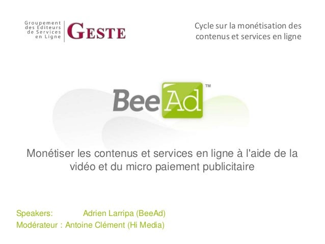 Cycle sur la monétisation des                                           contenus et services en ligne  Monétiser les conte...