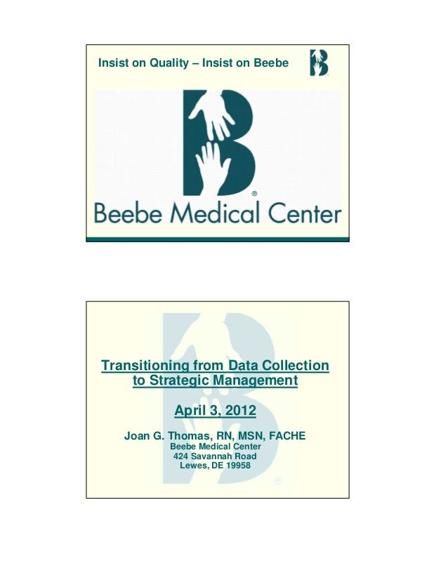 Insist on Quality – Insist on Beebe Transitioning from Data Collection to Strategic Management April 3, 2012 Joan G. Thoma...