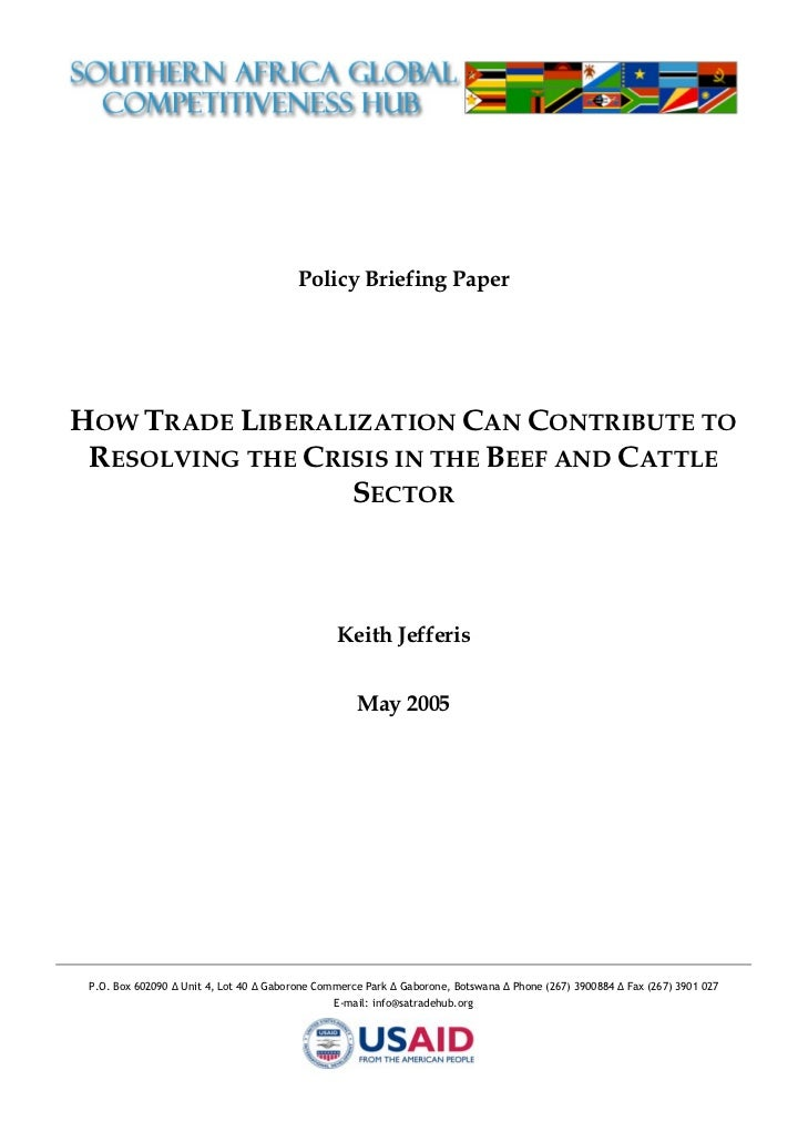 2005:How Trade Liberalisation Can Contribute to solving the Crisis in the Beef and Cattle Sector