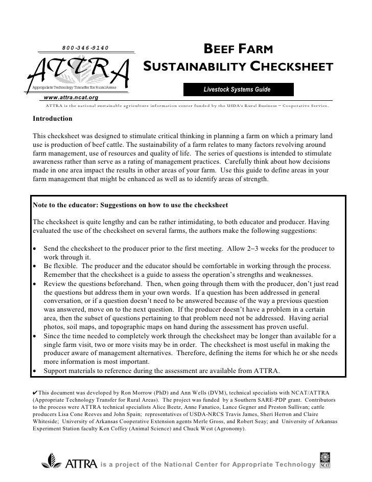 Beef Farm Sustainability Checksheet