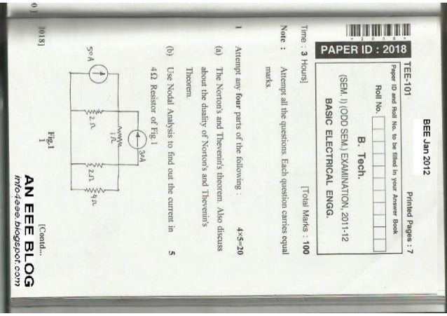 Basic Electrical Engineering Jan 2012