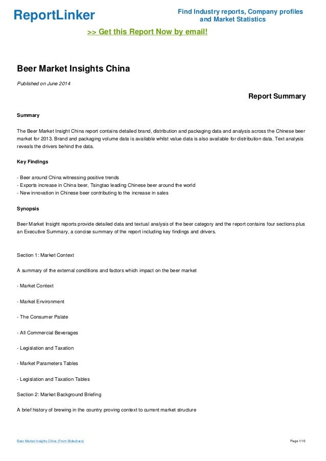 ReportLinker Find Industry reports, Company profiles and Market Statistics >> Get this Report Now by email! Beer Market In...