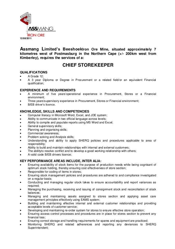 Beeshoek advert   chief storekeeper aug 2011