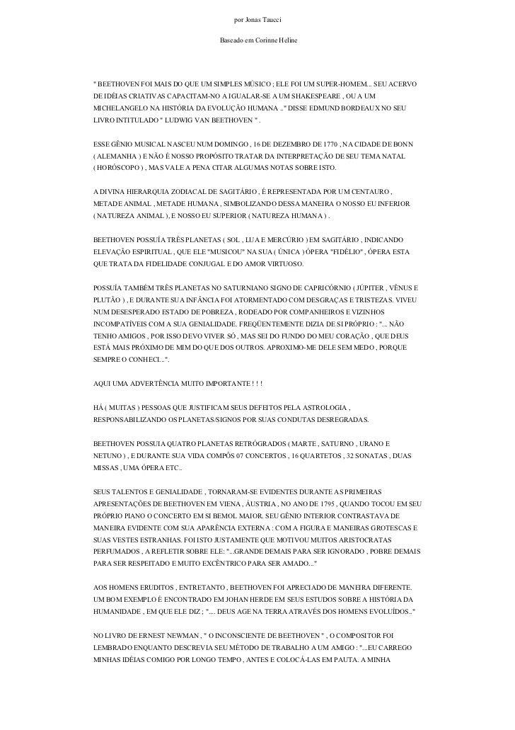 """por Jonas Taucci                                   Baseado em Corinne Heline     """" BEETHOVEN FOI MAIS DO QUE UM SIMPLES MÚ..."""