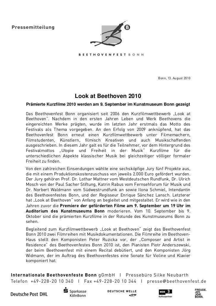 Bonn, 13. August 2010                         Look at Beethoven 2010Prämierte Kurzfilme 2010 werden am 9. September im Kun...