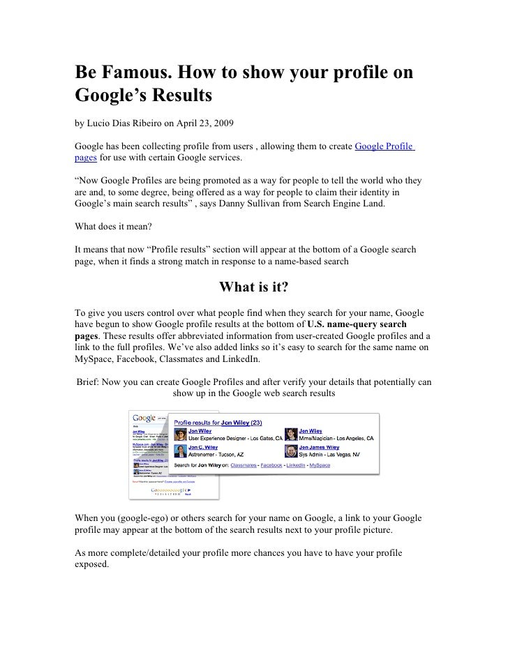 Be Famous Google Profile Pages