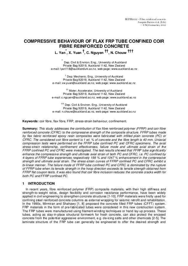 COMPRESSIVE BEHAVIOUR OF FLAX FRP TUBE CONFINED COIR FIBRE REINFORCED CONCRETE