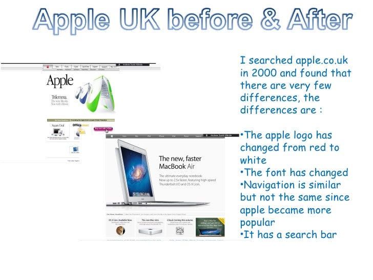 <ul><li>I searched apple.co.uk in 2000 and found that there are very few differences, the differences are : </li></ul><ul>...
