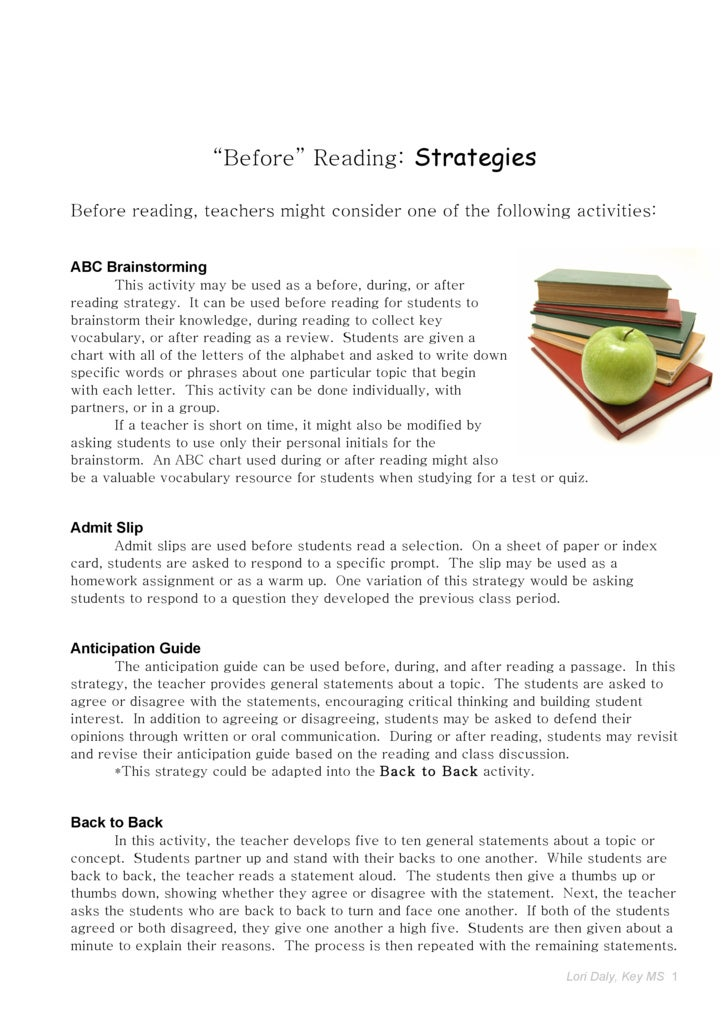 """Before"" Reading: Strategies  Before reading, teachers might consider one of the following activities:   ABC Brainstorming..."