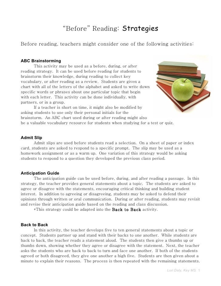 """""""Before"""" Reading: Strategies  Before reading, teachers might consider one of the following activities:   ABC Brainstorming..."""