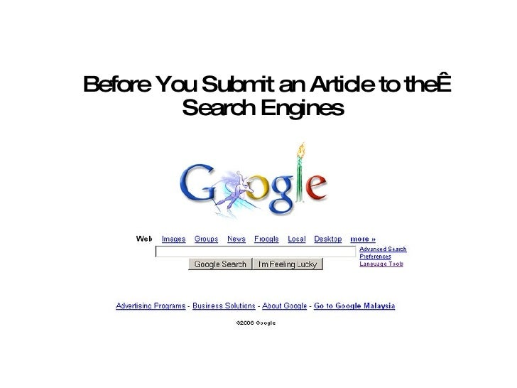 Before You Submit An Article To The Search Engines