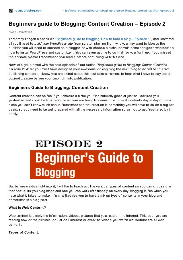 Beginners guide to blogging content creation – episode 2