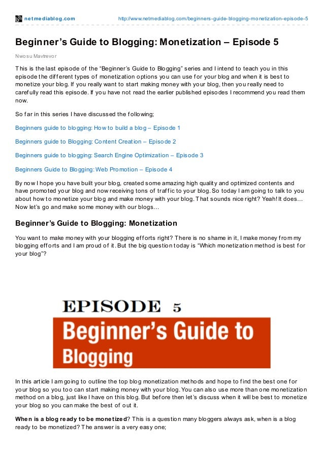 Beginner's guide to blogging monetization – episode 5