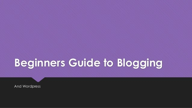 Beginners Guide to Blogging And Wordpress