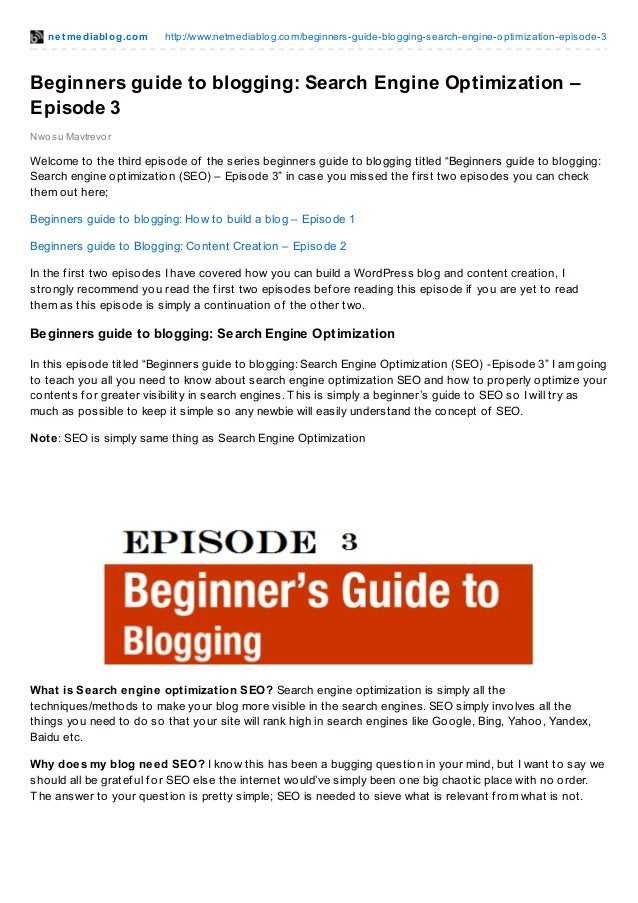 Beginners guide to blogging search engine optimization – episode 3
