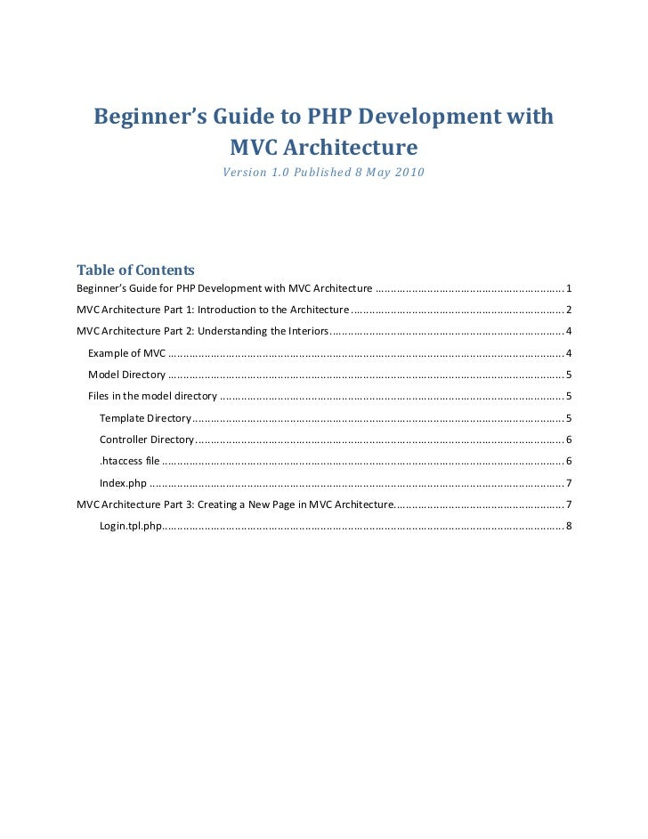 Beginner's Guide to PHP Development with                 MVC Architecture                                             Vers...