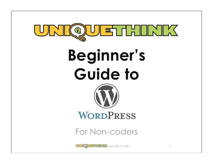 Beginner's Guide to WordPress For Noncoders