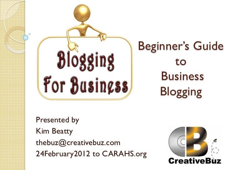 Beginning A Business Blog