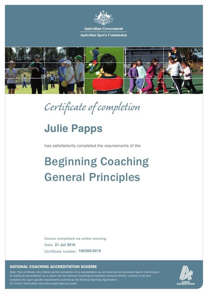 Beginning coaching general principles certificate