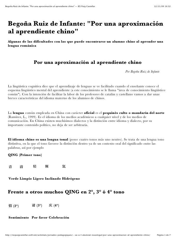 BegoñA Ruiz De Infante  Por Una AproximacióN Al Aprendiente Chino — Ies Puig Castellar