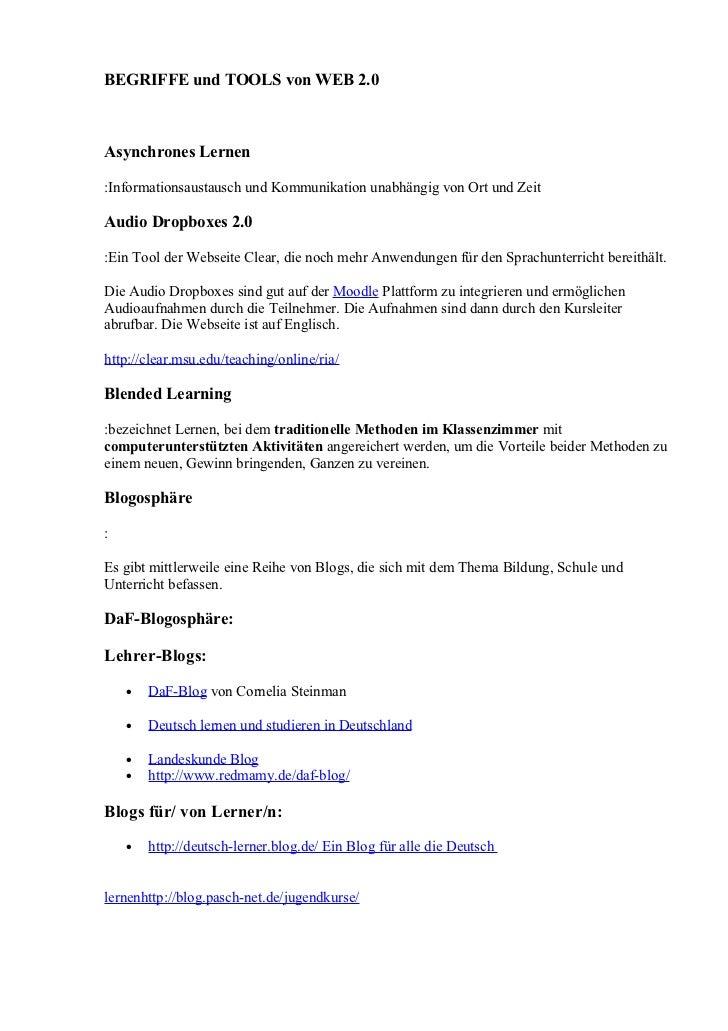 BEGRIFFE und TOOLS von WEB 2.0Asynchrones Lernen:Informationsaustausch und Kommunikation unabhängig von Ort und ZeitAudio ...