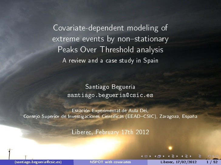 Santiágo Beguería: Covariate-dependent modeling of extreme events by non-stationary Peaks Over Threshold analysis