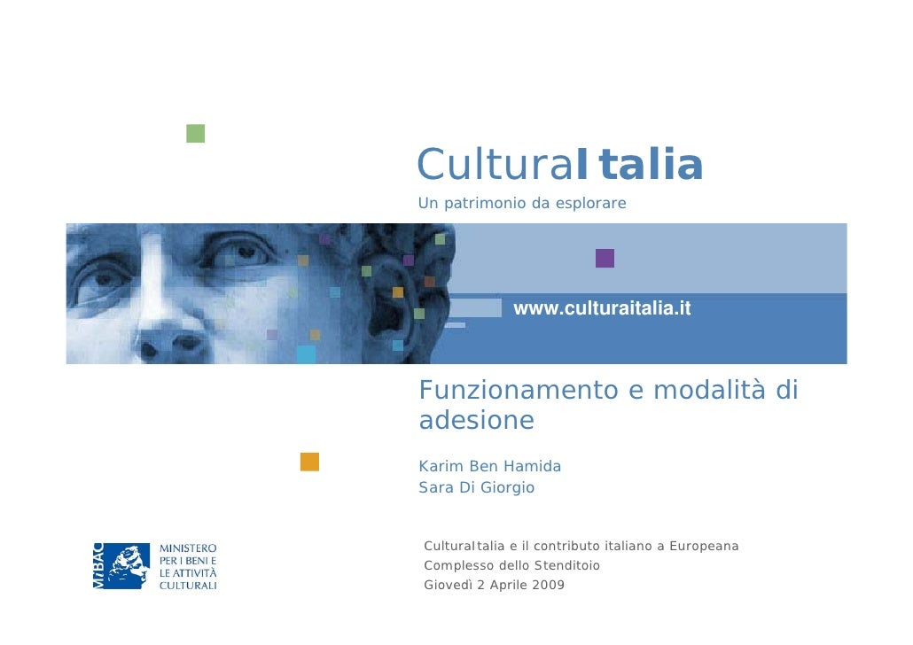 CulturaItalia - Funzionamento e modalità di adesione