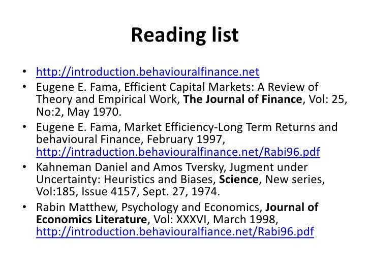 weak form efficient market hypothesis behavioural finance Market efficiency, efficient market hypothesis, weak-form market efficiency   economics that stock prices or returns exhibit a random walk behavior this.