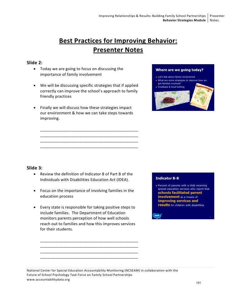 Unit 4: Behavioral Strategies - Parental Involvement Notes