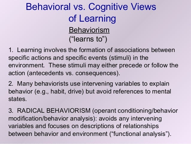 behaviorism vs social cognitive theory The behaviorist and social cognitive view of personality  •behaviorism –theory does not take mental processes into account when describing behavior.
