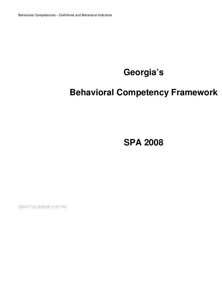 Behavioral Competencies – Definitions and Behavioral Indicators               1                                           ...