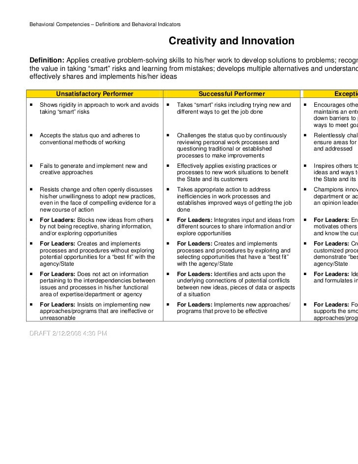 "behavioral competencies The following is a summarized list of the 31 competencies listed by ""cluster"" ( similar competencies related to a common skill set) each competency includes a definition and the observable behaviors that may indicate the existence of a competency in a person i competencies dealing with people."