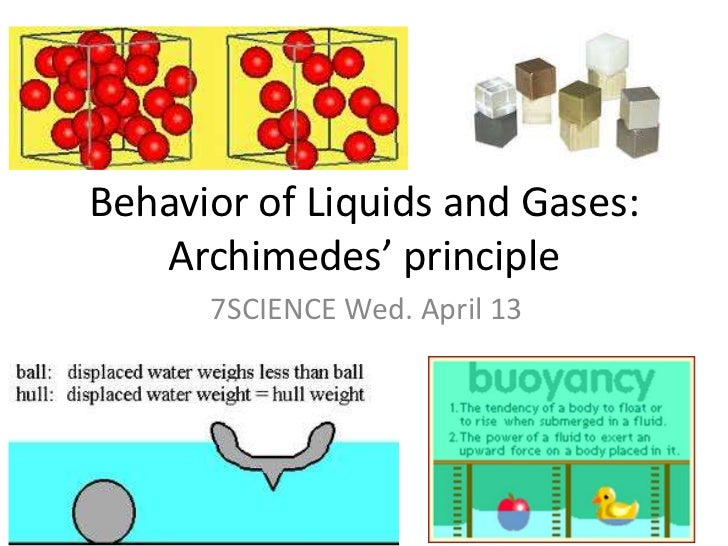 Behavior of Liquids and Gases: Archimedes' principle<br />7SCIENCE Wed. April 13<br />
