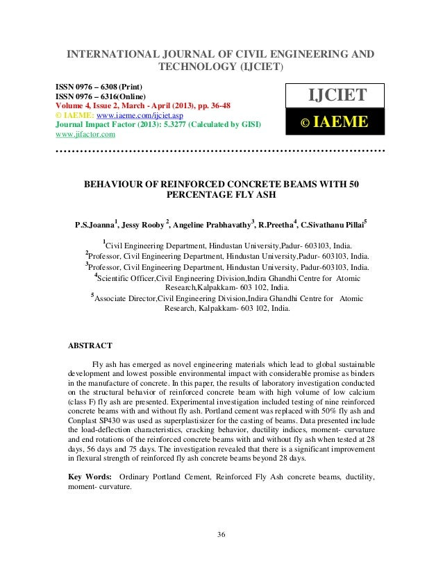 Behaviour of reinforced concrete beams with 50 percentage fly ash
