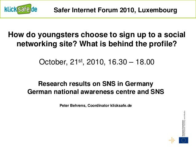 Research results on SNS in Germany German national awareness centre and SNS Peter Behrens, Coordinator klicksafe.de Safer ...