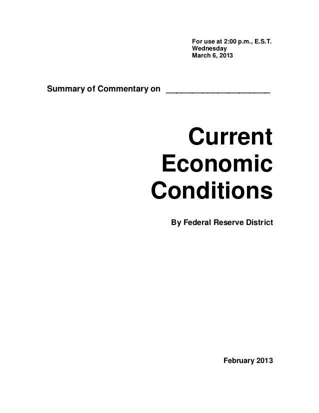 Federal Reserve Beige Book for March 6, 2013 - Current Economic Conditions