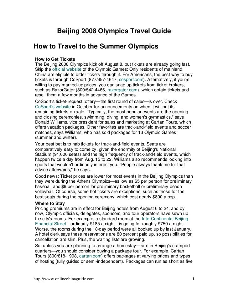 China Beijing Olympics Beijing 2008 Olympics Travel Guide