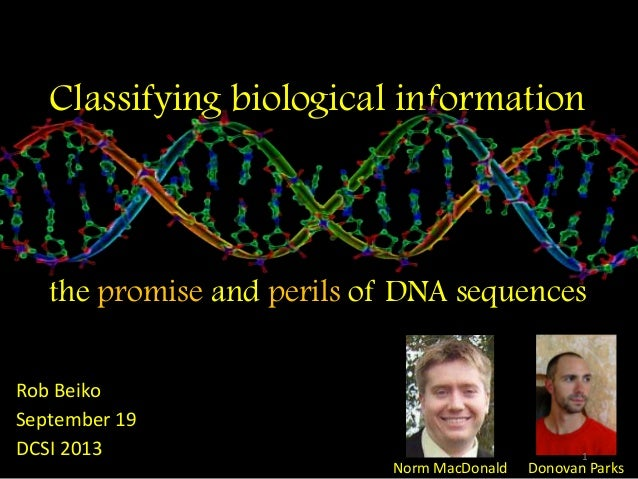 Classifying biological information the promise and perils of DNA sequences Rob Beiko September 19 DCSI 2013 Norm MacDonald...